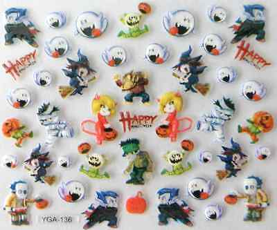 Nail art autocollants stickers ongles scrapbooking: Décorations Happy  Halloween - Decoration Ongle Halloween