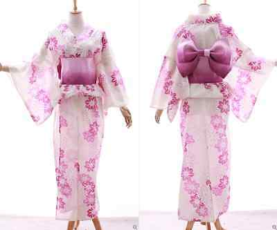 K-002 weiß rosa Pink Blumen ORIGINAL Japan Damen Kimono YUKATA OBI Gürtel