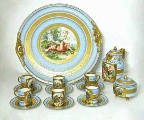 ROYAL VIENNA Style Porcelain Tea Coffee Set w/Tray, ANTIQUE, Beehive Shield Mark