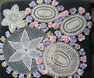 Antique Vintage Job Lot Crochet Doilie Lilac Pink Flower Design