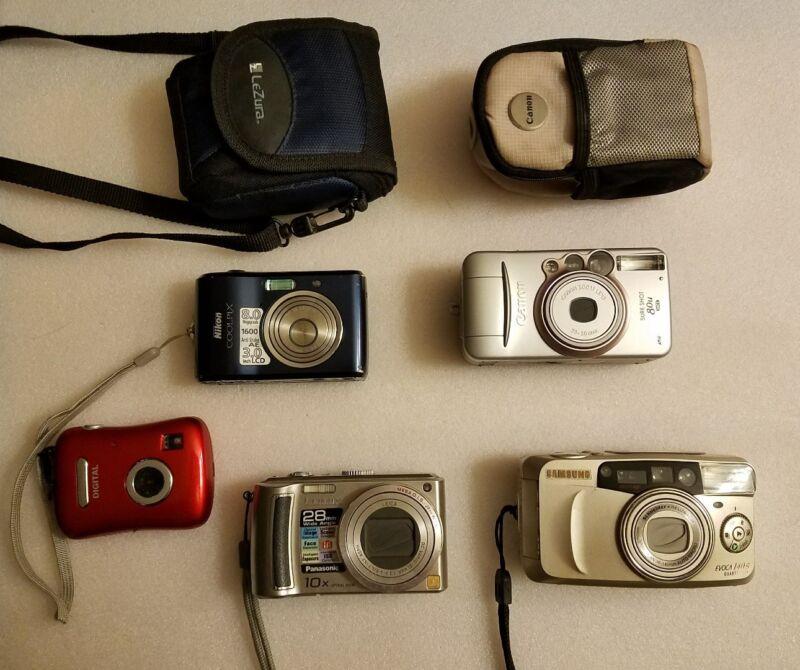 Camera lot of 5, Canon 80u, Samsung EVOCA140s, lumexDMC-TZ5, Nikon COOLPLX L18.