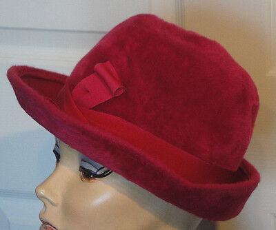 Vintage Magenta Fuzzy Wool Empress Hat