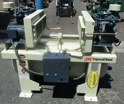 Ingersoll Rand Duplex 2-2475e5 2 X 5hp Air Compressor 120 Gallon Tank 208v 3ph