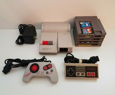 Nintendo NES-101 Original TOP LOADER Console System 5 Game Bundle Toploader
