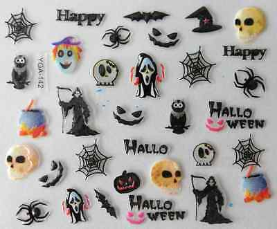 Nail art autocollants stickers ongles: Décorations Halloween têtes de mort - Decoration Ongle Halloween