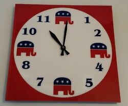 Unique Square/Round Cool Republican Acrylic Wall Clock Red White Blue Elephants