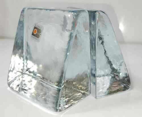 VINTAGE BLENKO HANDMADE ART GLASS BOOKENDS HEAVY