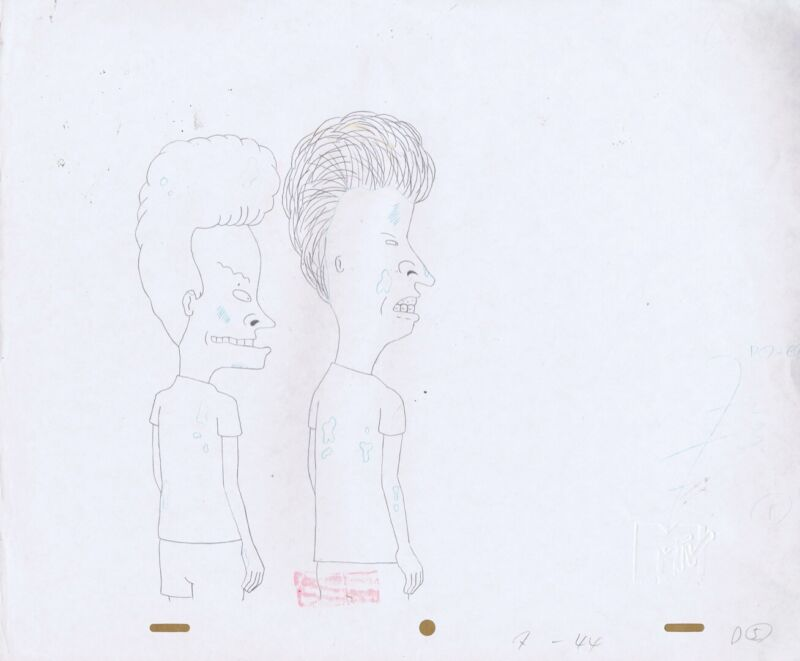 BEAVIS BUTTHEAD Production Cel Original Cell Drawing MTV Mike Judge 90s COA