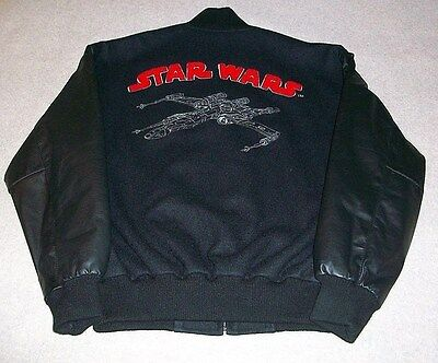 X Wing Fighter Jacket (Vtg STAR WARS Millennium Collection Leather Wool Bomber Jacket X-Wing Fighter )