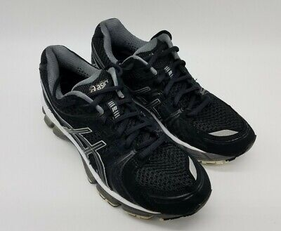 Asics Gel Kayano 18 Women's Running Shoes T250N Black/White/Gray Size 8.5 EUC!
