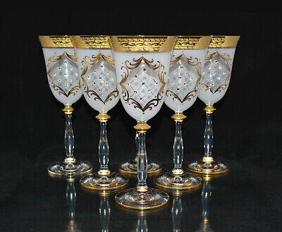 6 x 250 ml. ROTWEINGLÄSER, BOHEMIA KRISTALLGLAS, HANDBEMALT IN GOLD, NEU & OVP