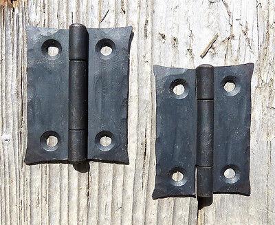 "2 Handmade 2"" Butt Door Wrought Iron Hinges Antique Cabinet Cupboard Box Décor"