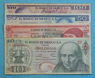 MEXICO SET LOT 4 BANKNOTES CIRCULATED 1970'S 1980'S 10 20 50 100 pesos 4 bills