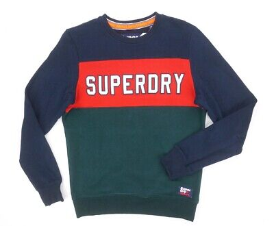 NEW SUPERDRY NAVY RED GREEN ACADEMY COLOR BLOCK EMBROIDERED SWEATSHIRT