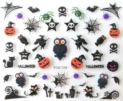 Nail art autocollants stickers ongles: Décorations Halloween Hiboux Citrouilles - Decoration Ongle Halloween