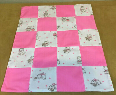 Small Doll Crib Quilt, Four Patch, Kitty Cat & Mouse Print, Hearts, Pink, White Four Piece Crib