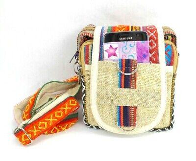 Hemp Crossbody Purse Boho Hippie Passport Travel Shoulder Bag Patchwork (Cotton Hemp Shoulder Bag)
