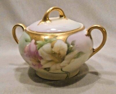 BAVARIAN PORCELAIN * SUGAR BOWL * flower gold handles