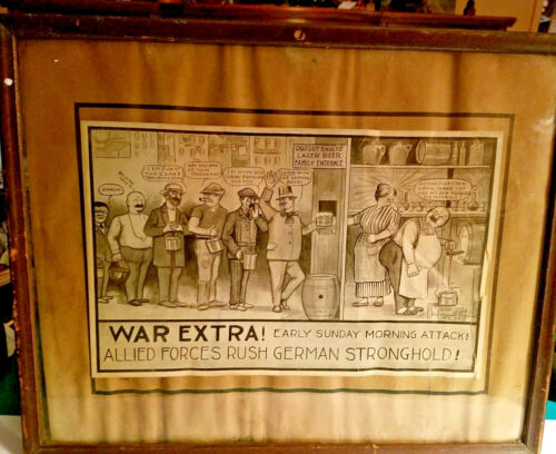 Antique 1914 The ROMNEY STUDIOS FRAMED POLITICAL CARTOON / SATIRE WWI ERA