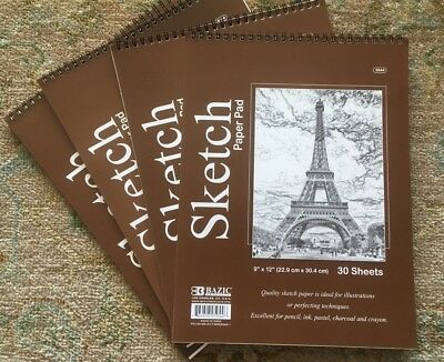 "4 Bazic Spiral Sketch Pad Book  9"" x 12"" 120 Paper Sheets for Pencil Ink Pastel"