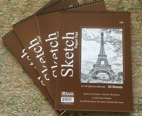"x3 Bazic Spiral Sketch Pad Book 9"" x 12"" 90 Paper Sheet Total Pencil Ink Pastel"