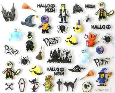 Nail art autocollants stickers ongles:Décorations Halloween squelettes sorcières - Decoration Ongle Halloween