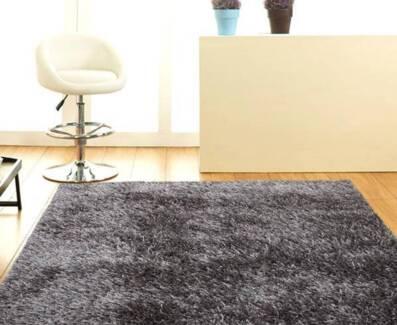 New Designer Shaggy Floor Confetti Rug Black White Grey