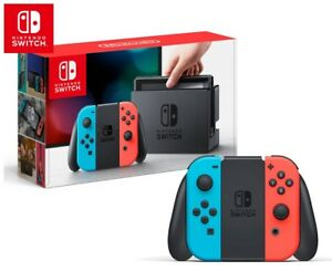 Neon red/blue Nintendo switch with extras