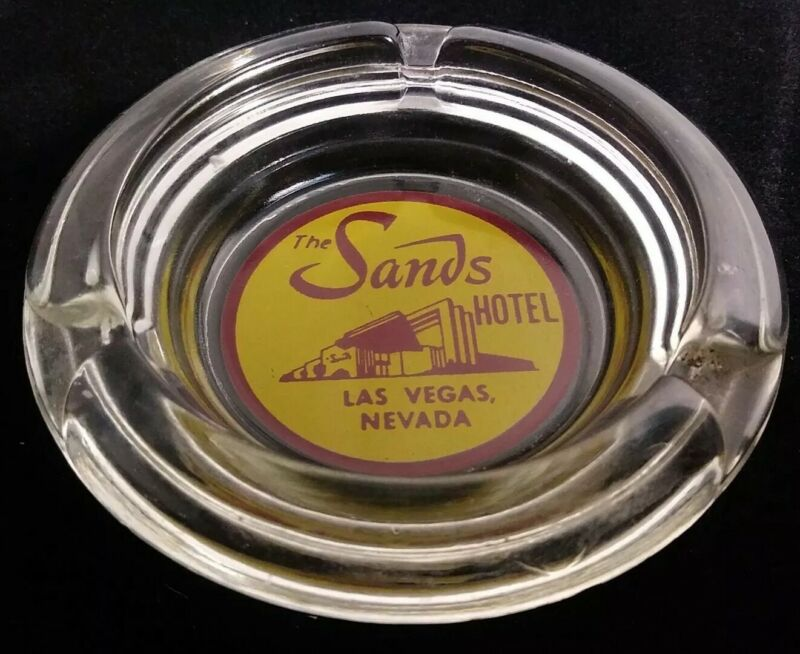 """Vintage The Sands Hotel Las Vegas Nevada Ash Tray Round Clear 4"""" Advertising"""
