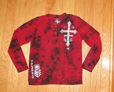 Affliction Henley Live Fast Graphic L/S Tee Shirt Size XL Red Men's Epaulets