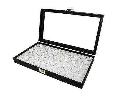 2 Glass Top Lid White 50 Jar Box Cases Display Gems Body Jewelry Gold Nuggets