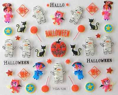 Nail art autocollants stickers ongles:Décorations Halloween citrouilles momies - Decoration Ongle Halloween