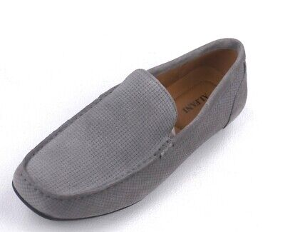NEW ALFANI GRAY WOVEN SUEDE DRIVER MOCCASINS KENDRIC LOAFERS SHOES 10