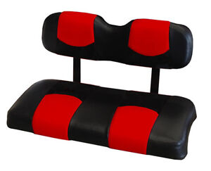 club car ds 2000 up golf cart front seat replacement covers set red blk ebay. Black Bedroom Furniture Sets. Home Design Ideas