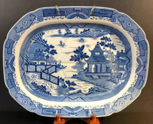 """Blue and White Porcelain Platter 18 ½"""" Chinese Garden Scene circa 1820"""