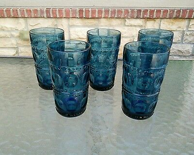 "5 Vintage Kings Crown Imperial Thumbprint Indiana Glass  5 1/2"" Tumblers Blue"