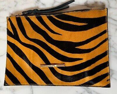 INNUE Made In Italy Black & Mustard Zebra Print Pony Fur & Leather Clutch