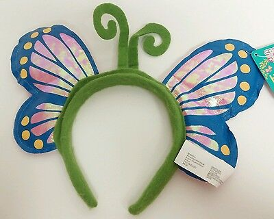 Blue Pink Butterfly Headband Halloween Costume Party Dress Up NWT ()