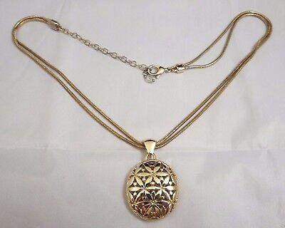 Vintage? Double Strand Serpentine Chain Necklace Round Open Work Flower Pendant