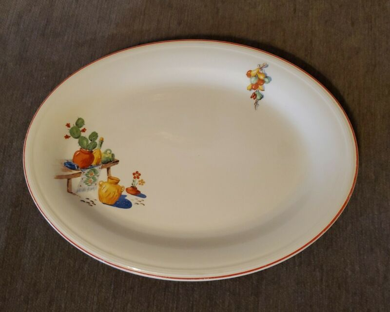 Vintage Edwin M Knowles China Platter Mexican Southwest cactus pottery USA