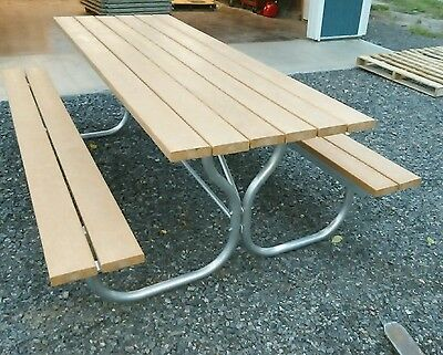 Heavy-duty 8ft.aluminum frame picnic table with plastic  top and stainless hrdwr](8 Ft Plastic Table)