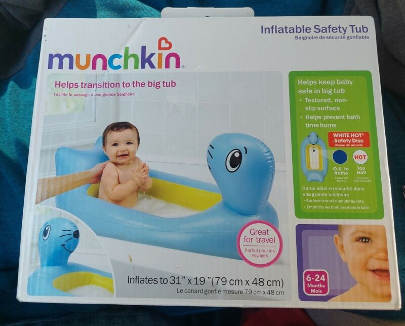 Munchkin, White Hot Safety Disc, Inflatable Blue Seal Tub NEW & On SALE!