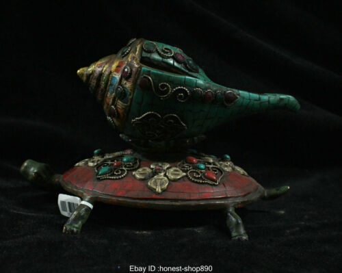 Old China Tibet Buddhism Temple Bronze Gild Inlay Turquoise Turtle Conch Statue