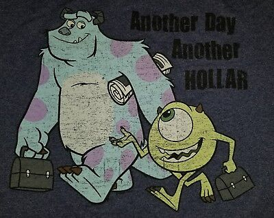 SMALL Monsters Inc. T-shirt: Another Day Hollar Disney Pixar Dollar Work Punk