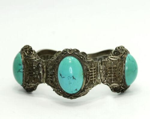 "Antique Chinese Export Sterling Turquoise Filigree Symbol Hinged Bracelet 7"""