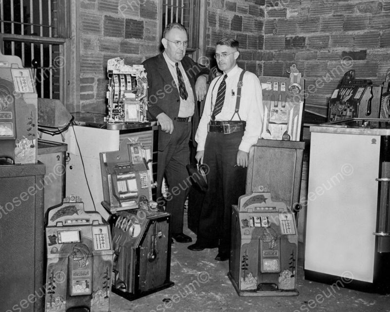 Police Inspect Seized Slot Machines Vintage 8x10 Photography Reprint