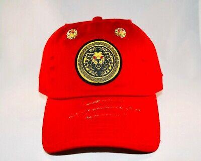 Damier Langevinè® Ruby Eye Lion Emblem Designer Baseball Cap - Versace Hat