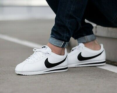 BNWB & Genuine Nike ® Classic Cortez Leather in White Retro Trainers UK Size 10