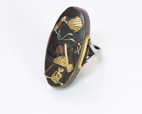 Antique Shakudo Japanese Silver Ring