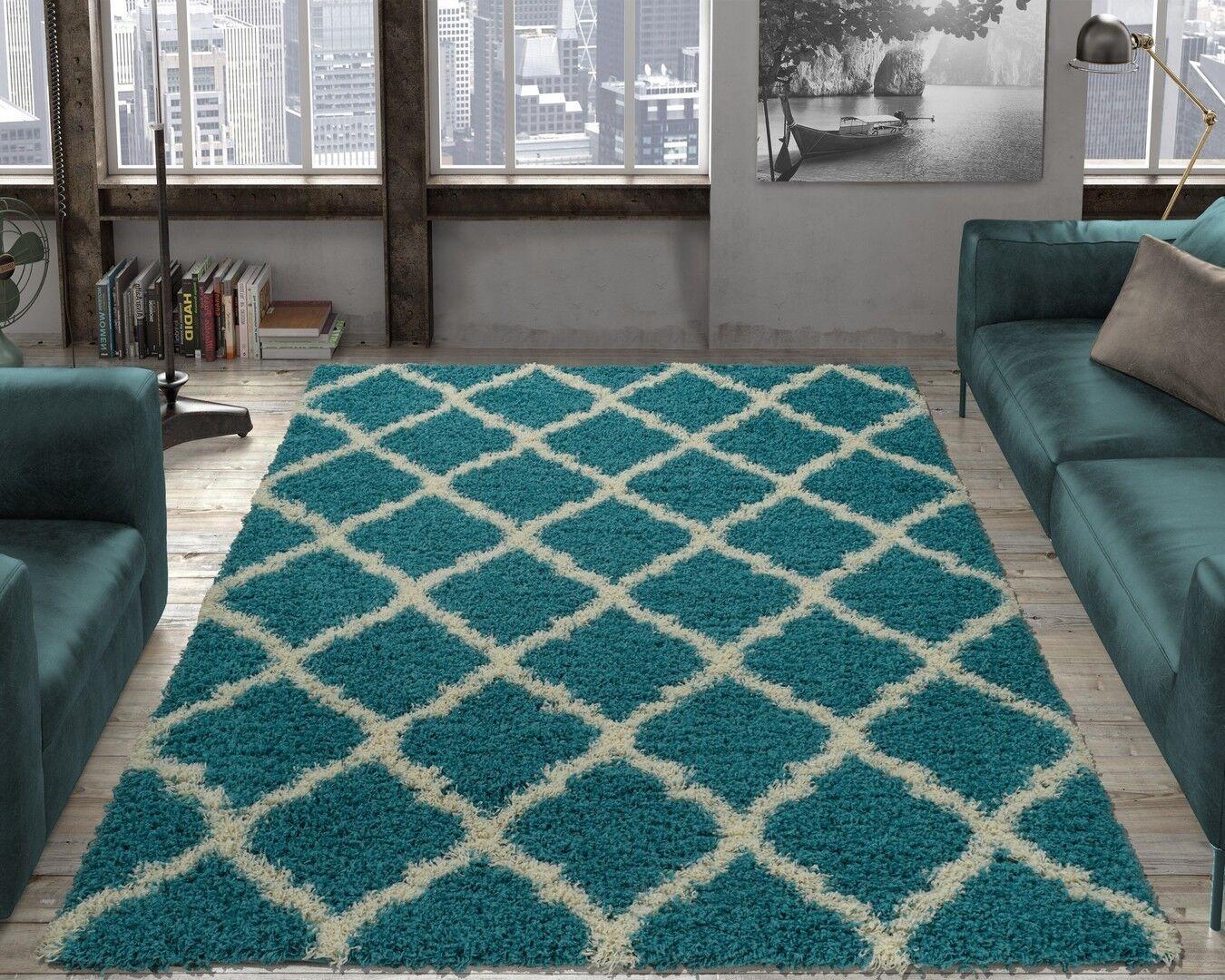 Designer 5' x 7' Ottomanson Moroccan Trellis Shag RugTurqu